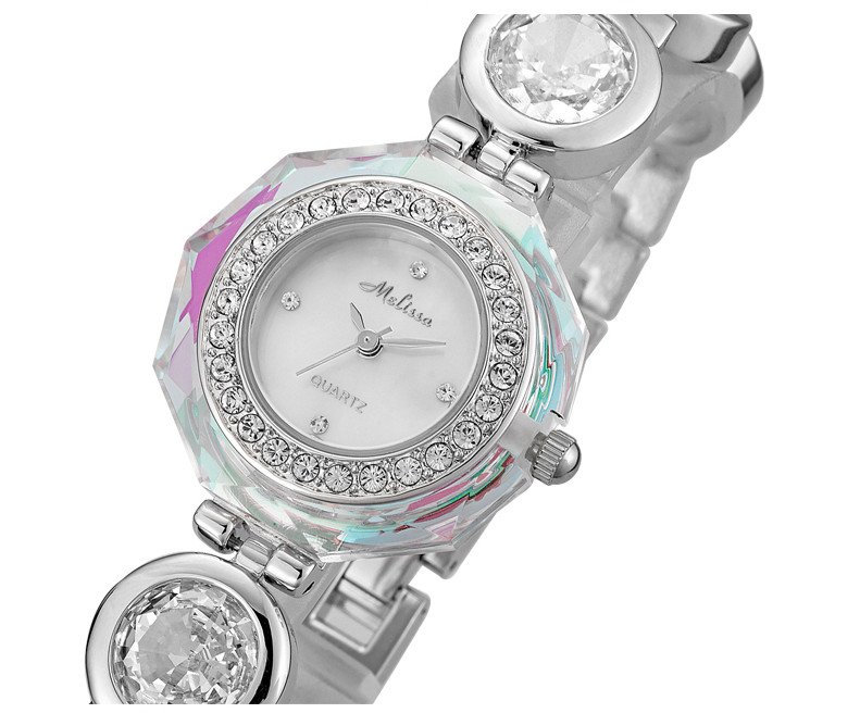 New Designer MELISSA Crystals Watch Delicate Women Bracelet Watches Bangle Wrist watch Quartz Analog Relogio Montre Femme F2842 new arrival bs brand quartz rectangle bracelet women luxury crystals bracelet watch lady rhinestone watch charm bangle bracelet