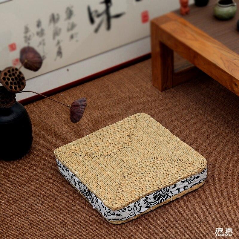 Tapis faits à la main en queue de chat coussin de méditation Bran paille coussin de siège japonais carré Tatami Futon Yoga