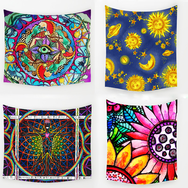 Comwarm Geometric Irregular Hippie Mandala Pattern Tapestry abstract painting Art Wall Hanging Gobelin Livingroom Decor Crafts