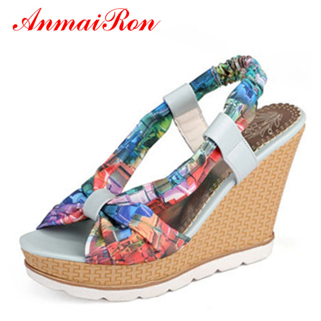 d6ccb4962d54 ANMAIRON Bohemia Beaded Colorful Ankle Strappy High Heels Summer Shoes Sexy  Wedge Sandals Open Toe Platform Sandals Women