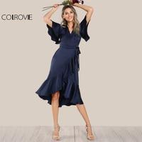COLROVIE Elegant Ruffle Navy Satin Dress Women Wrap Tie Waist Sexy Midi Party Dresses Fall 2017