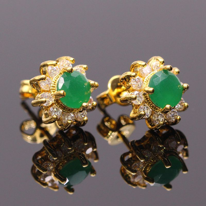 Jy Fashion Jewelry Yellow Green Stone Gold Color Earrings