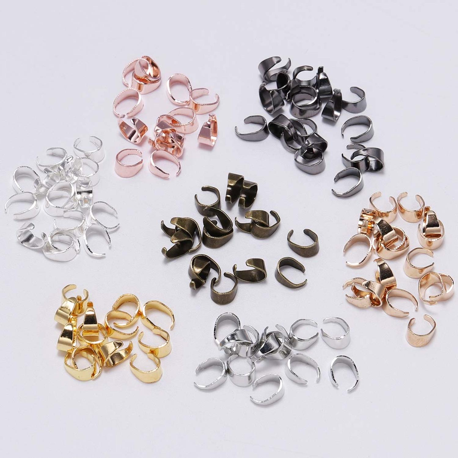 50pcs 7 Color Pendant Clips Pinch Bail Clasps Buckle Charm Connector For Jewelry Making Cameo Tray Craft Necklace Hook Findings