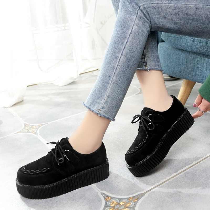 Creepers ayakkabı kadın artı boyutu 35-41 kadın ayakkabı bayanlar platform ayakkabılar 2019 yeni kadın Flats kadın ayakkabısı danteller Tenis Feminino