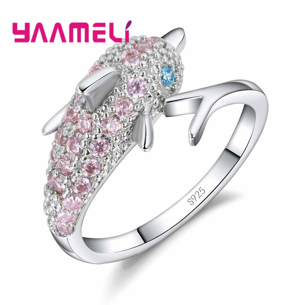 Nice Gift for Lady Girl 925 Sterling Silver Pink and Blue Eyes Cubic Zircon Crystal Dolphin Charm Finger Ring Fashion Accessory
