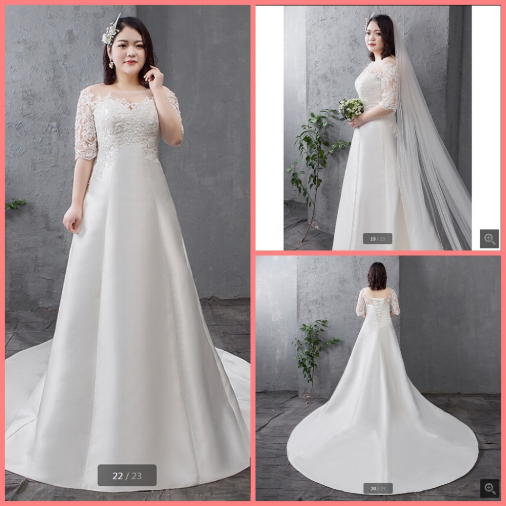 Robe de mariage 2019 a line white satin plus size women wedding dress half sleeve scoop neckline stylish wedding gowns