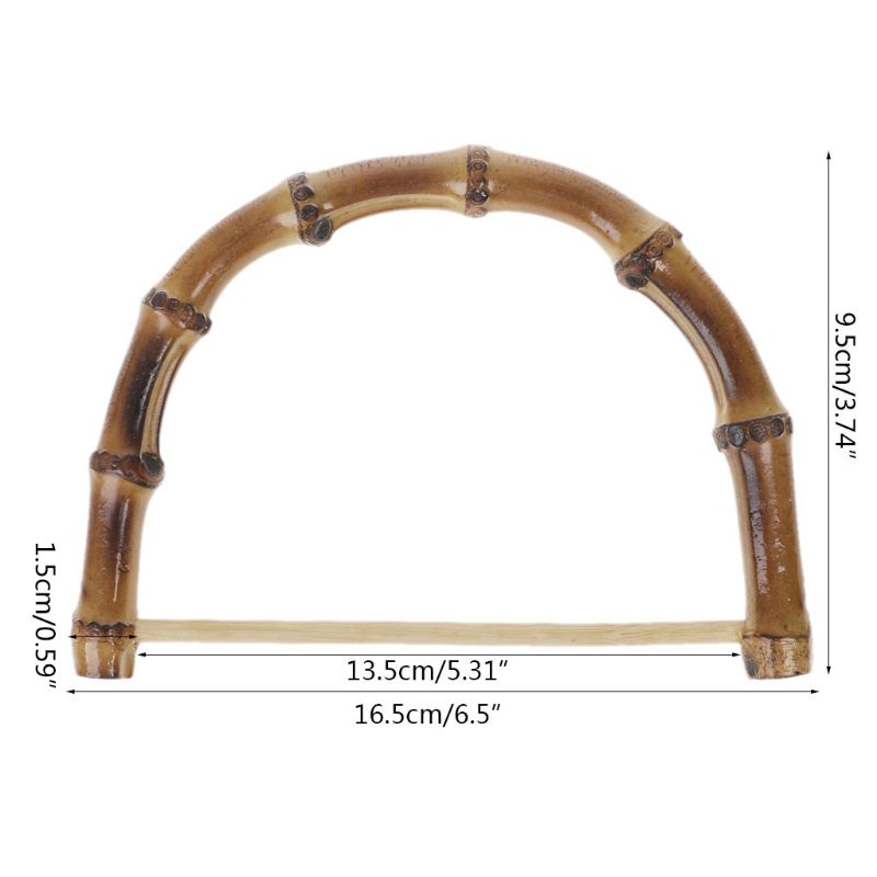1PC Bamboo Bag Handle for Handcrafted Handbag DIY Bags Replacement Accessories 16.5x9.5cm