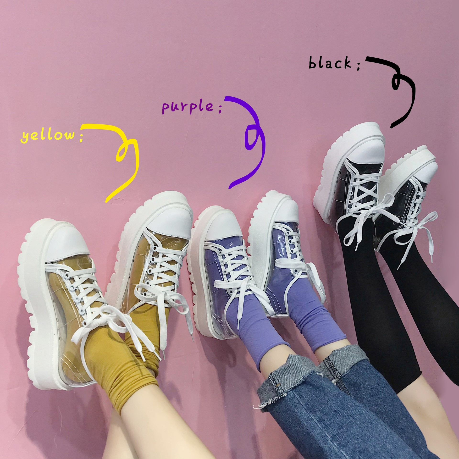 SWYIVY Women's Sneaker Platform Transparent New Platform Casual Shoes Female Student Fashion Canvas Shoes 2018 Summer Sneakers