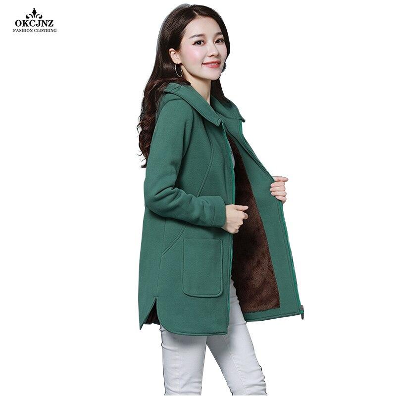 2019 Новый Для женщин верхняя одежда на осень теплые толстовки однотонные на молнии на шнуровке Длинные рукава с капюшоном для отдыха свободн