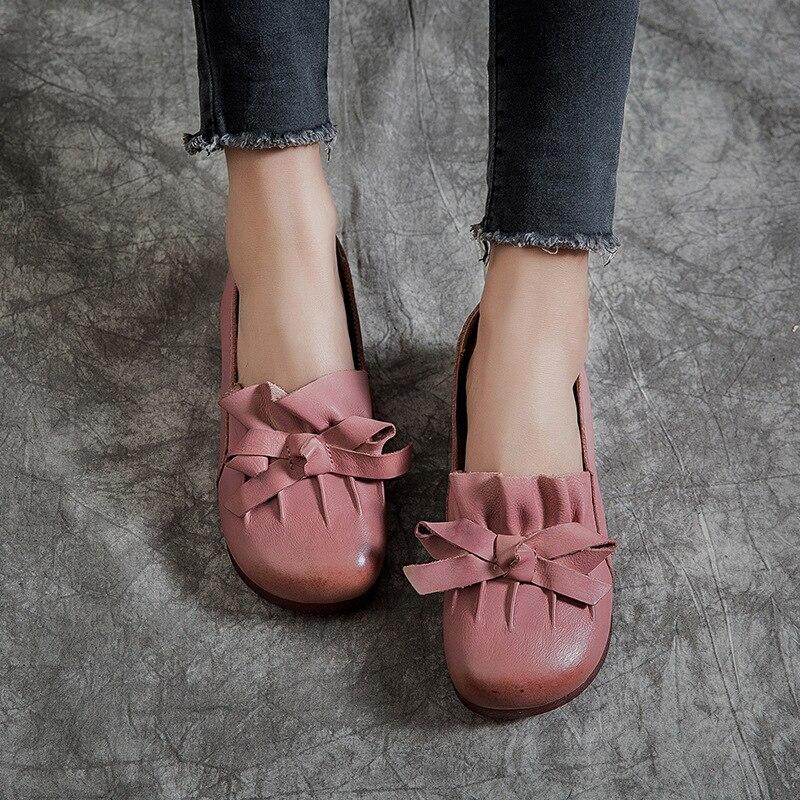 Femmes mocassins en cuir rose chaussures décontractées printemps 2019 rétro confortable appartements femmes à la main en cuir véritable paresseux chaussures sans lacet