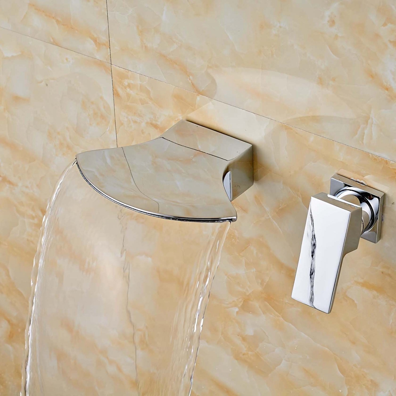 Contemporary Waterfall Shower Bath Tub Faucet Mixer Tap Single Handles Hot Cold