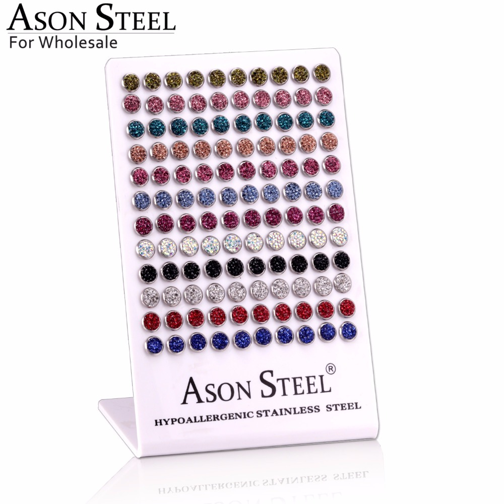 ASONSTEEL 60Pairs Card steel round stained white mud color women earrings Wholesale High quality