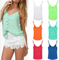 2016 Summer Women Camis New arrival Six candy colors  Sexy V-neck Chiffon Condole Top vest  All-matched Blouse Big Size S-2XL