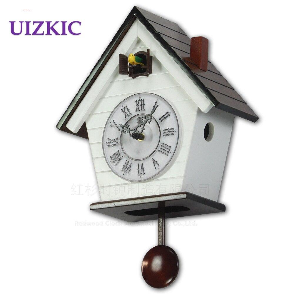 어린이 방 뻐꾸기 시계, 유럽 스타일의 작은 나무 시계, 새 말해 ...