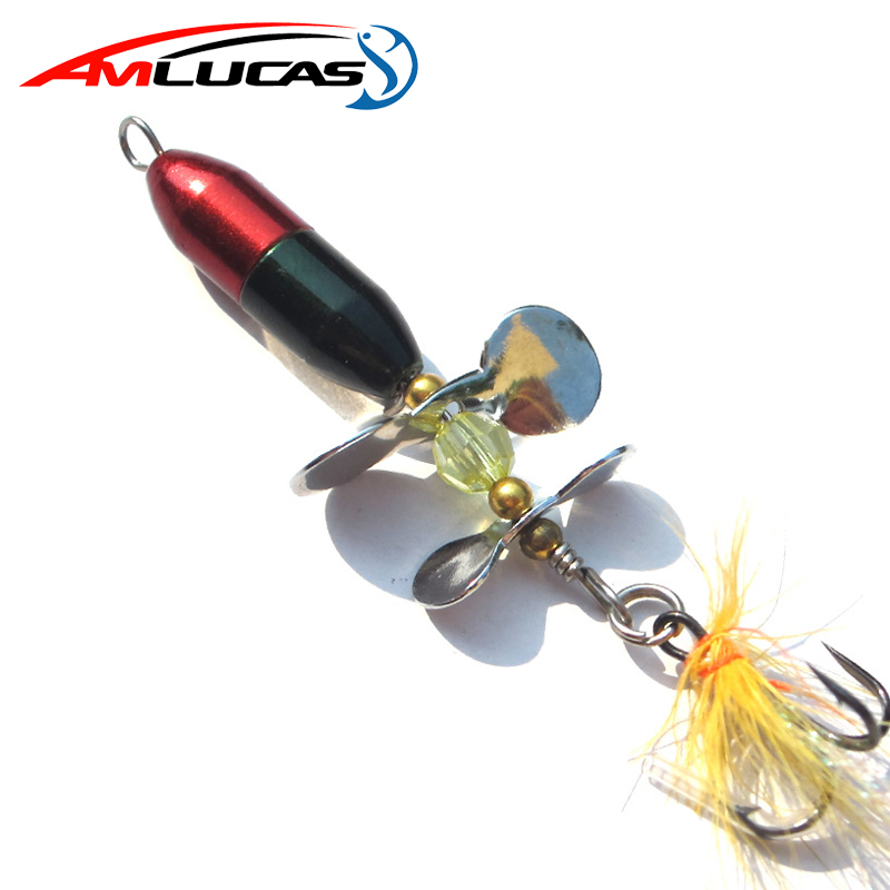 Amlucas Spoon Lure Metal Spinner Fishing Lures 7cm 10g Double Tail Propeller Trout Carp Catfish Artificial Sequins Baits WE154