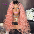 180% density Thick Fasion dark to pink ombre Full Lace Human Hair Wigs baby hair Lace Front Human Hair Wigs two tone ombre wigs