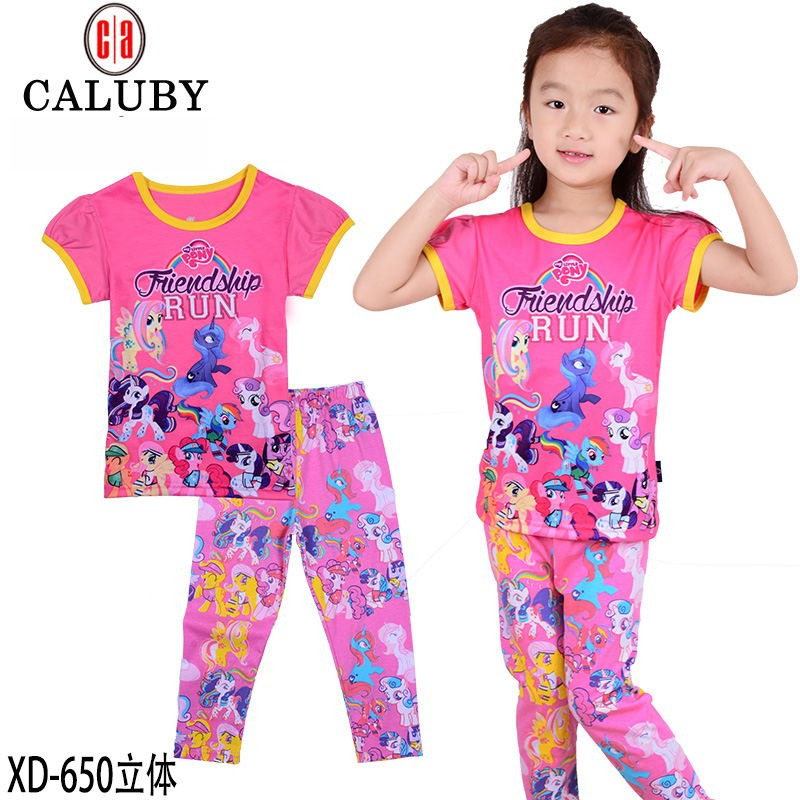 Hot-2016-new-pony-clothes-girls-clothing-sets-kids-pajamas-children-2-piece-sleepwear-home-fashion (1)