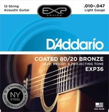 D'addario Daddario EXP36 EXP38 Beschichtet 80/20 Bronze oder Phosphor Akustische Gitarre Saiten, 12 Saiten set, 0,10-0,47