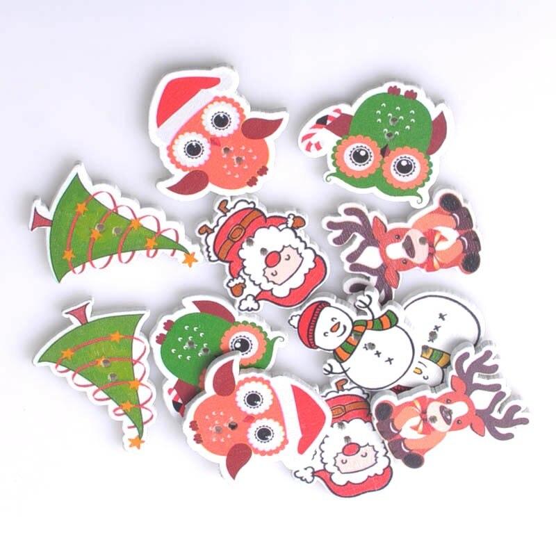 Смешанный Рождество деревянный Вышивание Пуговицы ручной работы Скрапбукинг Craft Интимные аксессуары 30-40 мм 50 шт. mt0395
