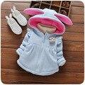 Clothing otoño 2017 niñas de corea del algodón de los niños sudaderas orejas de conejo lindo bebé outwear 0-3 años 495