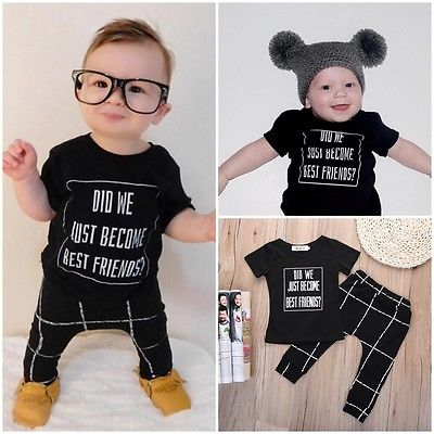 Fashion Infant Kids Bbay Boys Top Shirt +Pants Outfits 2PCS Set 0-24M Letters T-shirt + Plaid Pant Baby Boys Clothes Sets