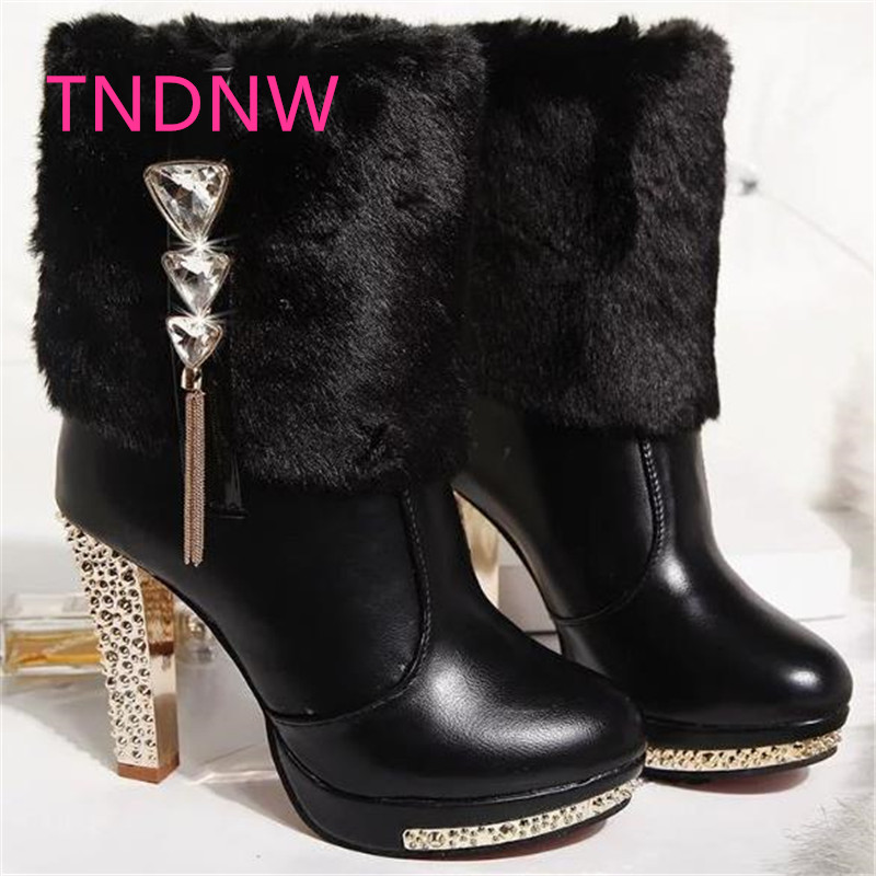 2017 Princess new women winter boots high-heeled ladies boots snow mid calf warm booty rivet lady thick pu plush riding 10cm double buckle cross straps mid calf boots