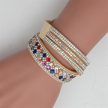 Meajoe Trendy Women Men Multilayer Rhinestone Slake Leather Bracelet Vintage Charm Crystal Long Bracelets Jewelry For Women Gift