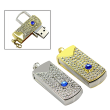 Real Capacity Jewelry Crystal Diamond Memory Stick Usb Flash Drive 64GB 32GB 16GB 2.0 Mini Usb 128GB Pendrive Girl Gift