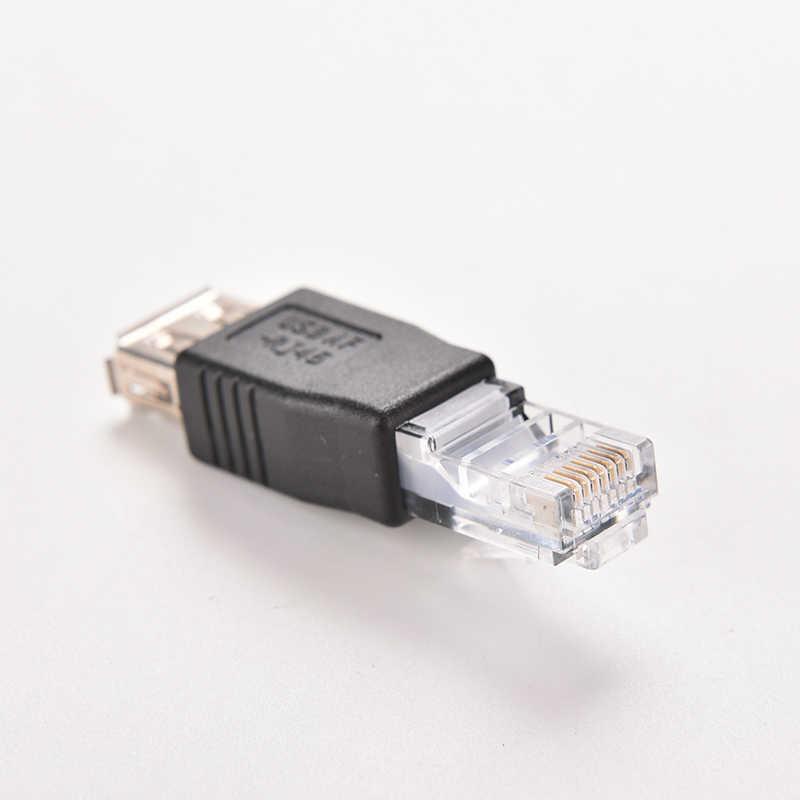 PC كريستال رئيس RJ45 الذكور إلى USB 2.0 AF شاحن أنثي موصل Laptop LAN شبكة كابل محول إيثرنت Transverter التوصيل