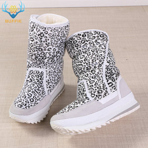 Image 5 - White leopard female boots winter snowboot nice looking plus big size plush warm fur Rubber with EVA outsole high quality women