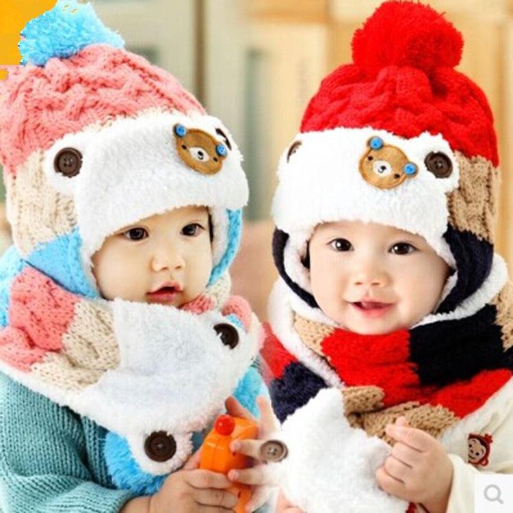 New 2016 Baby Winter Hats Cartoon Baby Boy/Girl Striped Woolen Hats Newborn Bear Baby Beanies+Scarf Twinset