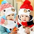 Novo 2016 Do Inverno Do Bebê Chapéus Bebê Dos Desenhos Animados Menino/Menina Listrado Gorros de Lã Chapéus Recém-nascidos Do Bebê Urso + Cachecol Twinset