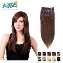 DHL 7A Grade 7-10 Pcs Clip In Human Hair Extensions #4 Brown Brazilian Human Straight Virgin Clip In Hair Extension Thick End