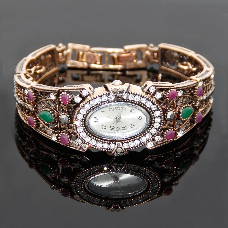 Vintage türkische Armbanduhr Armreif Schmuck Frauen Runde Blume - Modeschmuck - Foto 2
