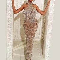 African Rhinestones Sparkle Evening Dresses Shiny Arabic Turkish Mermaid Beaded Formal Prom Dress Kaftan Gradient Abendkleiker