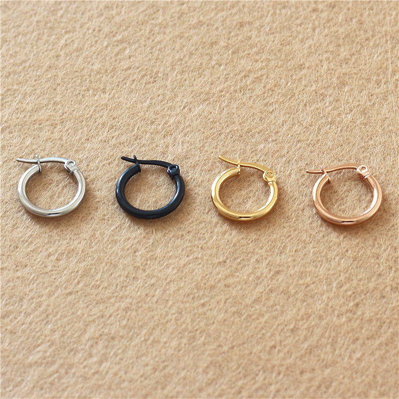 Gold-color Plated Titanium 15mm Hoop Earrings 316 L Stainless Steel No Easy Fade Allergy Free