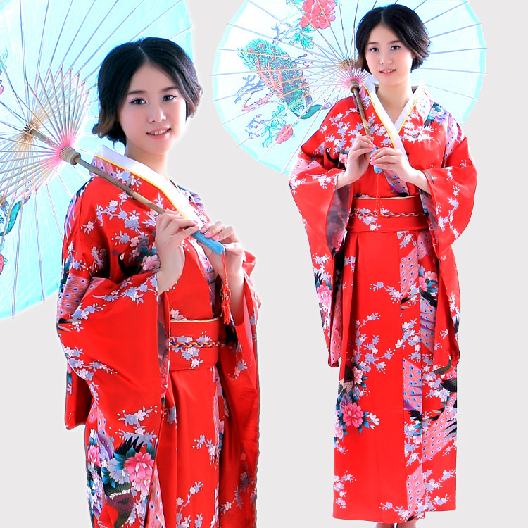 New Classic Traditional Japanese Kimono Women Yukata With Obi Stage Performance Dance National Costumes One Size
