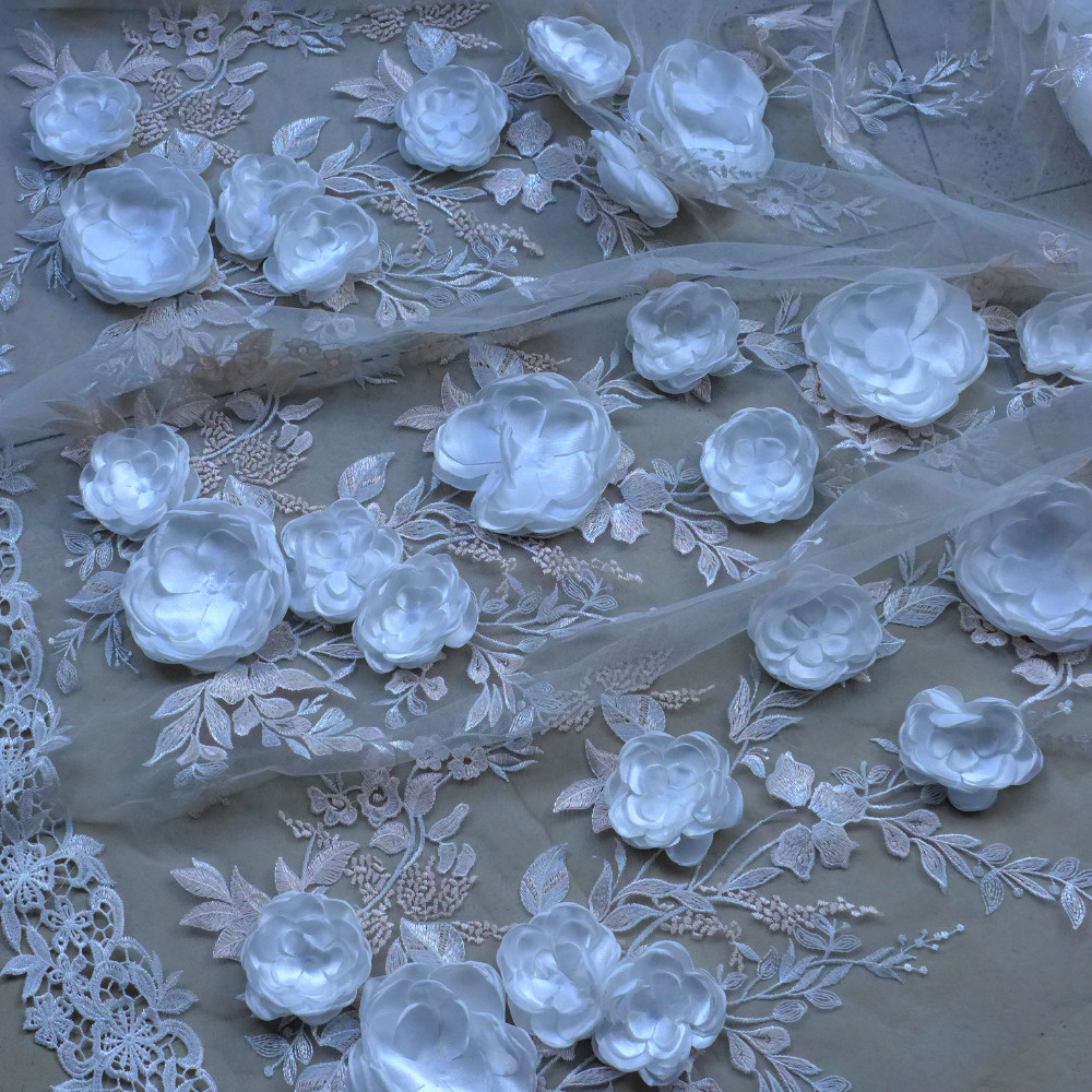 Hot popular off white/dark pink handmade 3D flowers on tulle embroidery high-end dress/wedding dress lace fabric 130cm by yardHot popular off white/dark pink handmade 3D flowers on tulle embroidery high-end dress/wedding dress lace fabric 130cm by yard