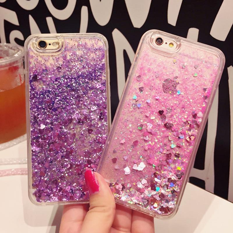 Hot Love Heart Glitter Stars Dynamic Liquid Quicksand Soft TPU Phone Back Cover Case For Iphone 6 6S 6Plus 6SPlus 7 7Plus 5 5S