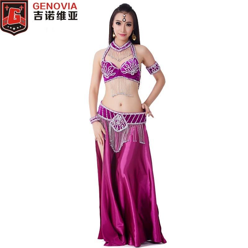 2018 Hot Women Belly Dance Costume 5pcs Bra&belt&necklace&bracelet Indian Dance Clothes Dance Belly