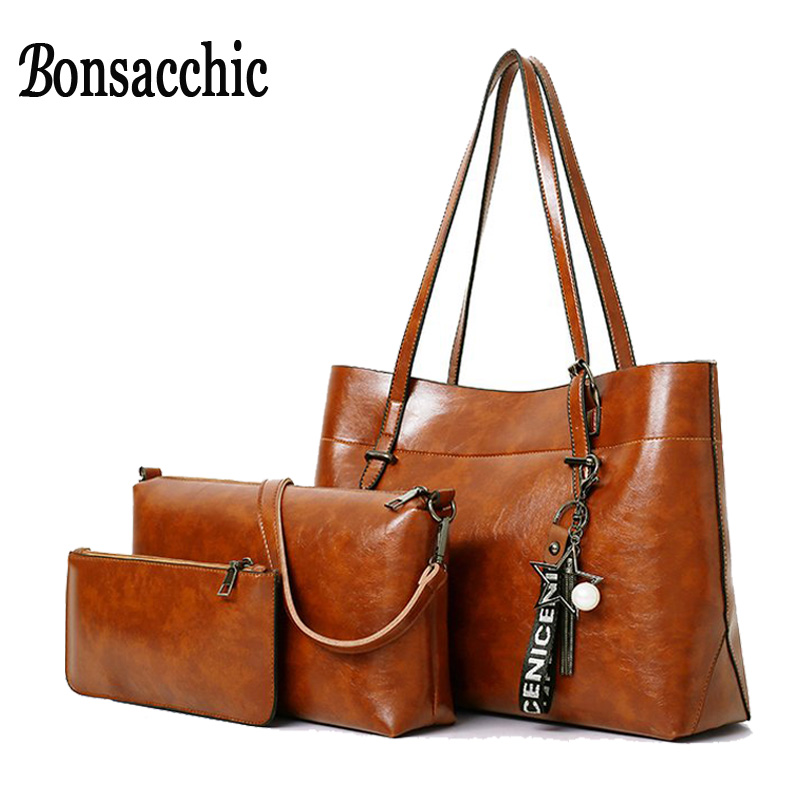 Bonsacchic 3pcs/set Big PU Leather Bags Women Handbags Lady's Shoulder Bag Female Casual Tote Bag Set Purses and Handbags Bolsas