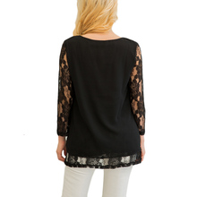 Floral Lace Long Sleeve Chiffon Blouse