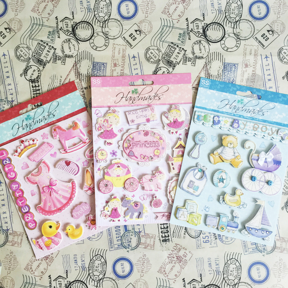 Scrapbook paper baby - Cute Pink Princess Pretty Things 3d Stickers For Girl And Baby Scrapbooking Sticker China