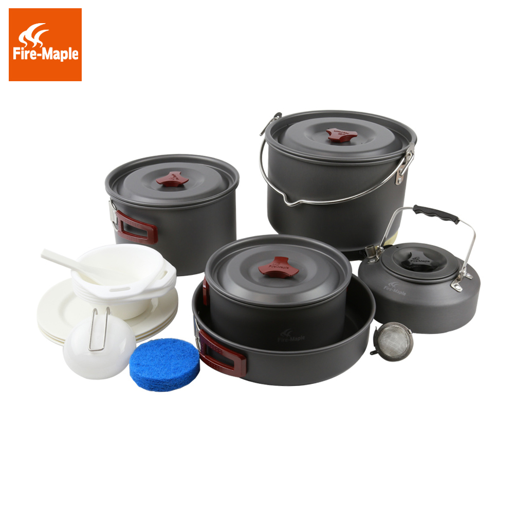 Fire Maple Hot Sale 6-7 Persons Cookware Picnic Set Be Cocina Outdoor Cutlery Team Pot Sets Panelas Camping Cooking Set FMC-212 fire maple fmc 206 hot sale 4 5 persons camping cooking set pot camp cookware picnic outdoor cutlery only 1270g