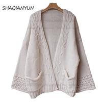2017 direct winter women's new long sweater cardigan sweater coat sleeve loose Korean broad female tide