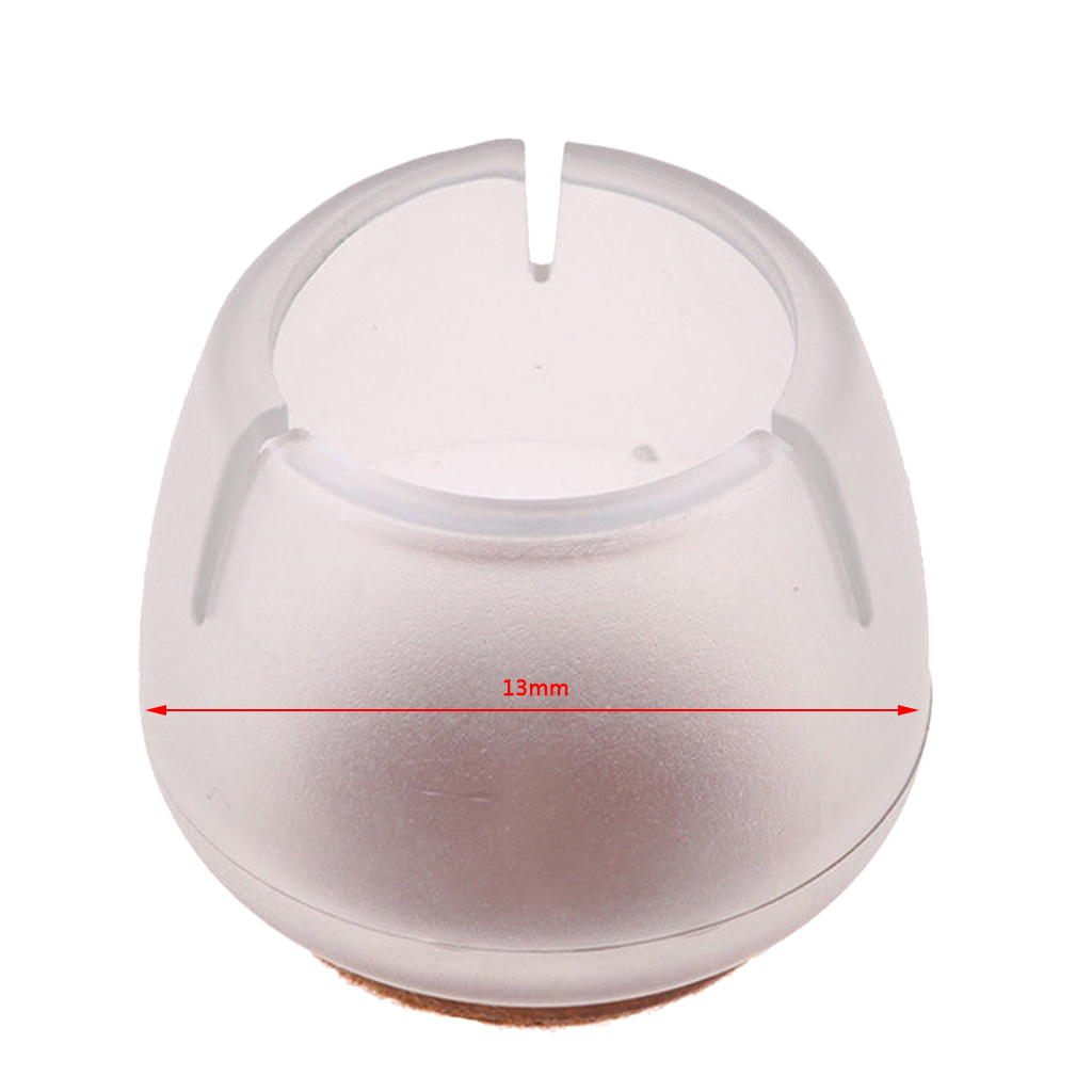 20x High Quality Clear Chair Leg Caps Furniture Feet Protectors Clear Silicone Floor Protectors - Round 12-16mm