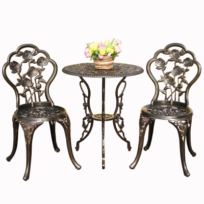 Balcony yard cast aluminum tables and chairs outdoor leisure tables and chairs combination courtyard garden chair table set european leisure tables and chairs fashion leisure sofa chair small coffee table beauty salon to discuss the single chair 3pcs