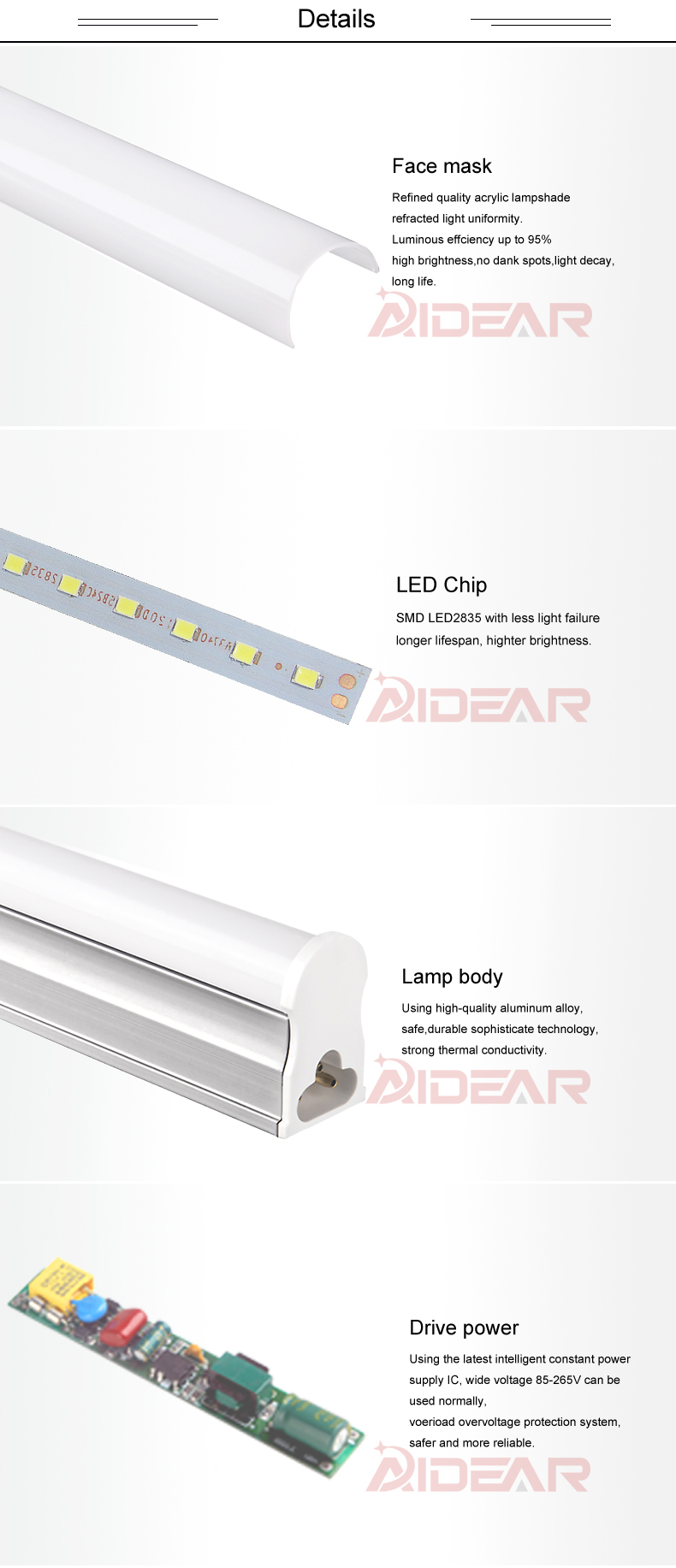 led shop light 4ft t5 led tube lights ceiling shop lighting fixture for garage kitchen room power wire with switch stock in usa [ 790 x 1832 Pixel ]