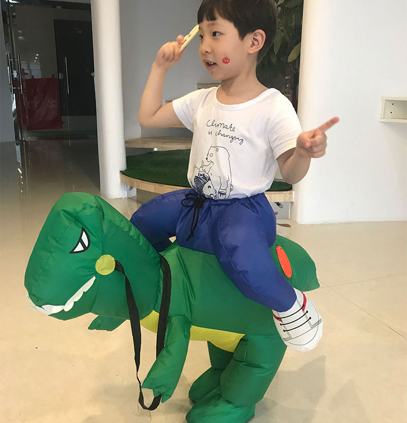 80-120 CM Children INFLATABLE Dinosaur Cosplay Costume Halloween Party Mascot Costumes For Kids Inflatable Dinosaur Rider On