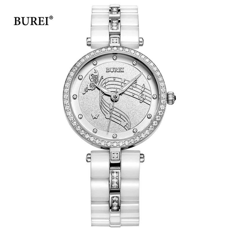 Бренд Alexis Elegnat стильный новый белый циферблат керамика Аквамарин женские часы браслет для женщин Дамы Часы Montre Femme - 3